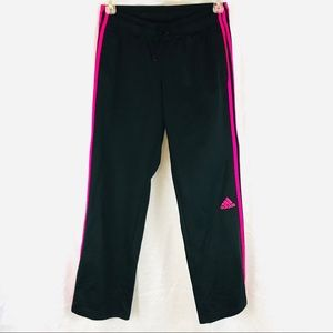 ADIDAS Track Pants Black 3 Stripes Hot Pink M